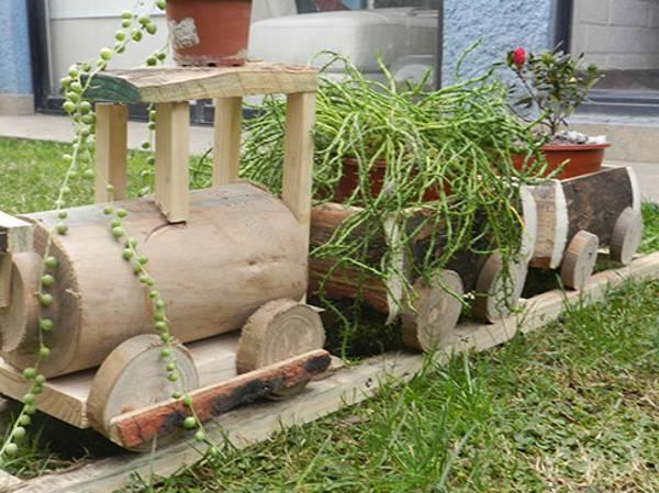 Vendo lindas macetas de madera trencito r stico 2015 08 25 for Carros de madera para jardin