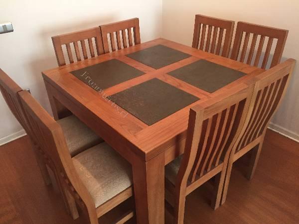 Comedor cuadrado madera nativa 2016 02 18 economicos de el for Comedor 8 personas cuadrado