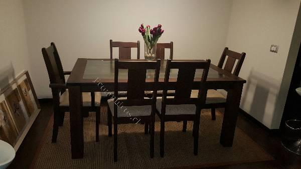 Juego de comedor madera vidrio 6 sillas 2016 for Comedor redondo de madera de 6 sillas