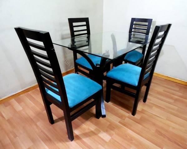 Juego comedor 4 sillas nuevo madera mesa vidrio 2017-11-15 ...