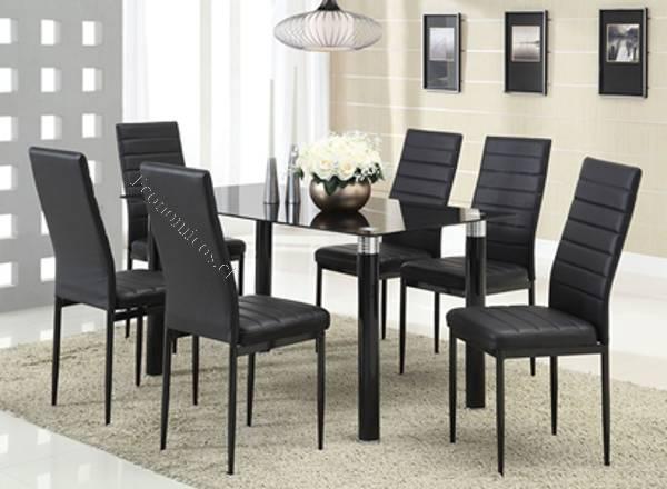 Comedor 6 sillas y cubierta de vidrio nuevos e importados for Comedores baratos en santiago