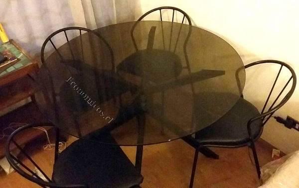 Comedor redondo fierro mesa de vidrio 2016 10 25 en for Comedor redondo de vidrio 4 sillas