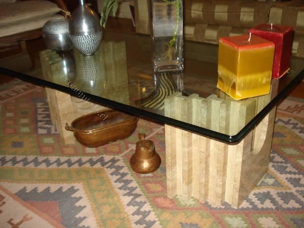 Vendo hermosa mesa de centro cristal y marmol travertino for Marmol travertino chile