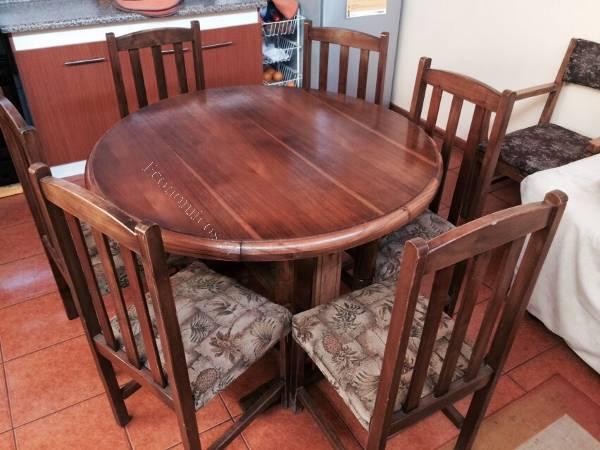 Vendo comedor redondo de madera con sus 6 sillas 2015 08 for Sillas para comedor redondo