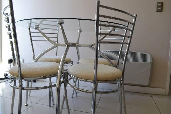 Comedor de vidrio redondo 4 sillas 2016 01 30 en for Sillas para comedor redondo